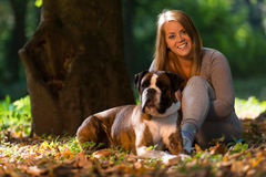 Women Holding Dog Royalty Free Stock Image
