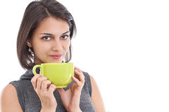 Women holding green cup Royalty Free Stock Images