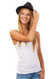 Women holding a hat and Looking away. Royalty Free Stock Photography