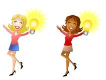 Women Holding Lightbulbs Royalty Free Stock Photo