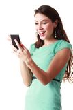 Women holding the mobile Stock Photography