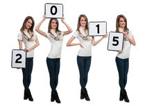 Women Holding New Years Signs Stock Photo