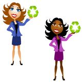 Women Holding Recycle Symbols Royalty Free Stock Photos
