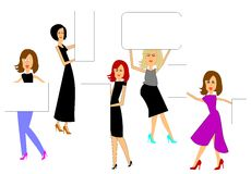 Women holding sale signs Royalty Free Stock Image