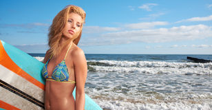 Women  holding a surfboard Royalty Free Stock Photo