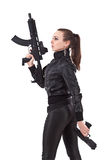 Women holding weapons Royalty Free Stock Photography