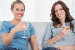 Women holding wine glasses Stock Images