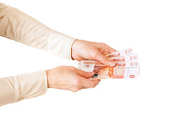 Women holds bank notes Royalty Free Stock Photos