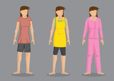 Women in Home Clothes Vector Character Illustration. Set of three  character of cartoon women wearing comfortable casual outfit isolated on plain grey background Stock Photos