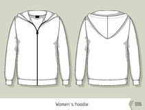 Women hoodie. Template for design, easily editable by layers Royalty Free Stock Photo
