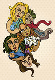 Women and hope. Five stylized women, representing solidarity and hope Stock Photos