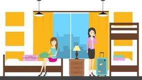 Women in hostel room. Stock Photo