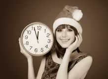 Women with huge clock Stock Photography