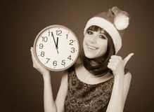 Women with huge clock Stock Photo
