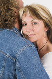 Women hugging portrait  Royalty Free Stock Image