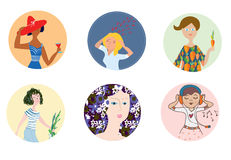 Women icons set with different mood and occupations. Funny cartoons Stock Photos