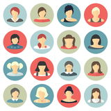Set of flat women icons for avatar or profile page. Stock Photos