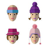 Women icons with wool hats Royalty Free Stock Image