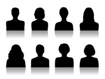Women id silhouette portraits set Royalty Free Stock Images