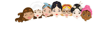 Women. Illustration with faces of women of different cultures on white background Vector Illustration