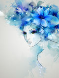 Women image. Beautiful abstract women with abstract design floral elements Royalty Free Illustration