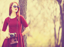 Women In A Park With Camera Stock Photography