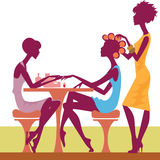 Women In A Salon Getting A Hairstyle And Manicure Royalty Free Stock Images
