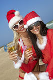 Women In Christmas Suit Stock Photo