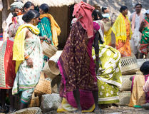 Women in the indian rural area market Royalty Free Stock Image