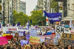 Women International Day March, Montevideo, Uruguay stock photo