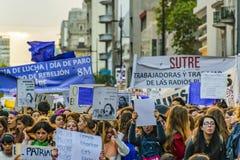 Women International Day March, Montevideo, Uruguay stock photography
