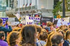 Women International Day March, Montevideo, Uruguay royalty free stock photo