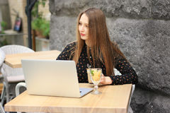Women Is Wearing Black Shirt In The Cafe Royalty Free Stock Image