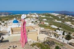 Women on the island of Santorini Stock Photos
