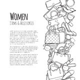 Women Items and Accessories Web Banner. Colourless Stock Photos