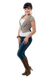 Women in jacket and jeans Royalty Free Stock Image