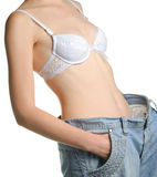 Women and jeans of the greater size Royalty Free Stock Photography