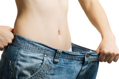 Women and jeans of the greater size Royalty Free Stock Photo