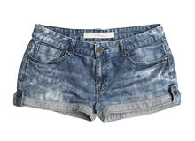 Women jeans shorts. With clipping path isolated on white background Stock Images