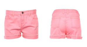 Women jeans shorts. Front. Back. Royalty Free Stock Photo