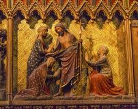 Women Jesus Christ Wooden Statues Notre Dame Paris France Stock Photos