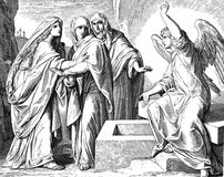 Women at Jesus' Tomb. 1) Sacred-biblical history of the old and New Testament. two Hundred and forty images Ed. 3. St. Petersburg, 2) 1873. 3) Russia 4) Julius stock images