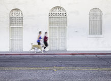 Women jogging with pet dog Royalty Free Stock Photo