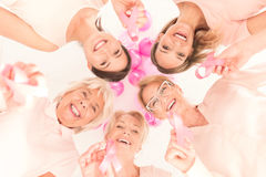 Women joined against breast cancer stock photo
