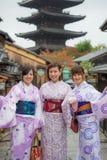 Women in Kimono dress standing front of Yasaka pagoda Royalty Free Stock Photo