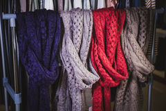 Women knitted scarves, clothing Stock Image