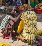Women from Konso tribal area sell bananas at local village marke Stock Photography