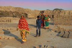 Women Labour In Indian Brick-field Royalty Free Stock Photo