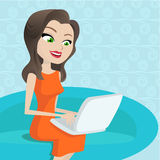 Women with laptop. Vector illustration of women with laptop vector Stock Photos