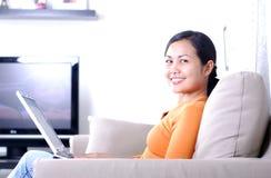 Women with laptop Stock Photos